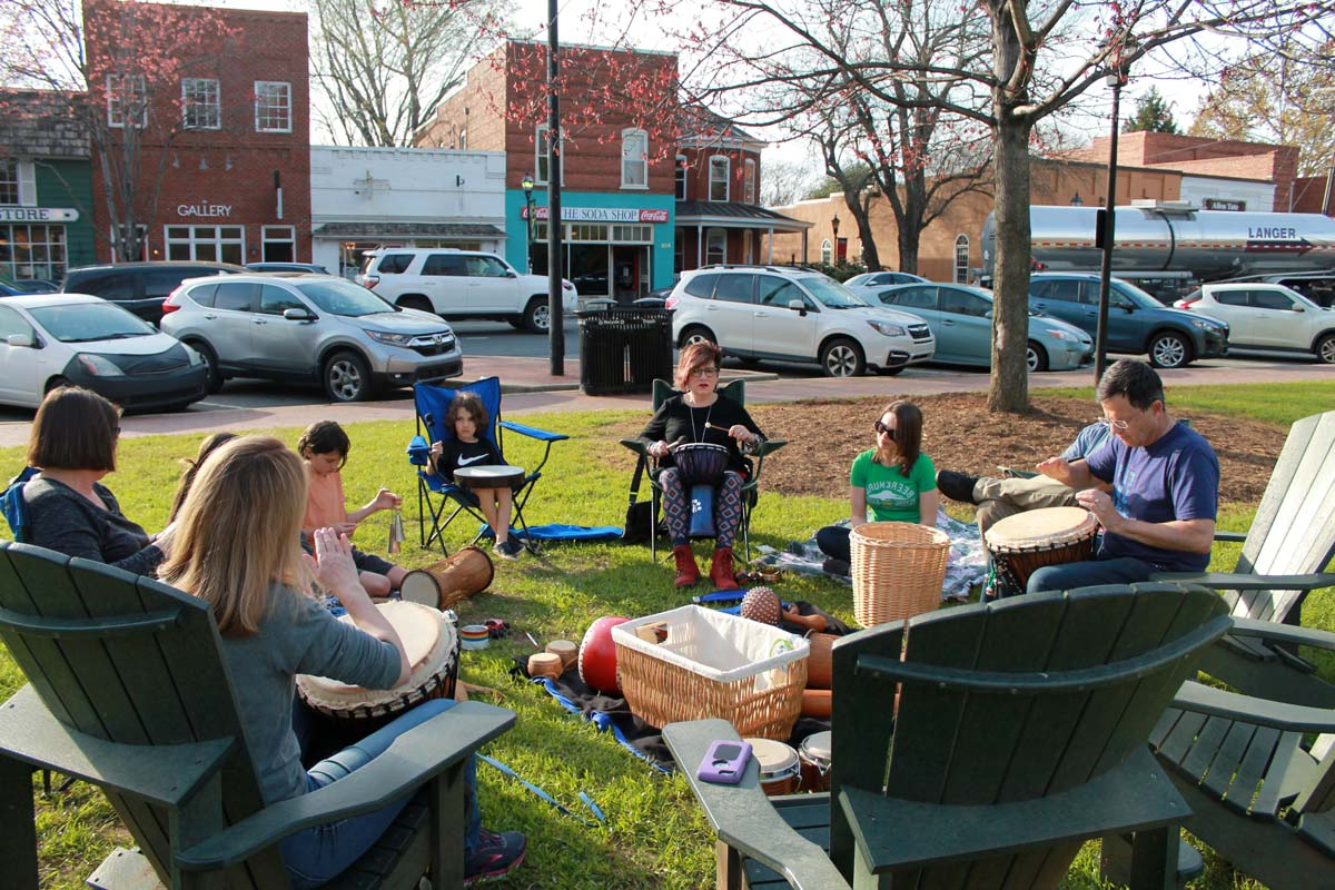 A Drumming Circle on the Green in Davidson, NC