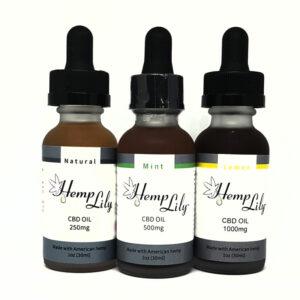 Three bottle of HempLily CBD oil