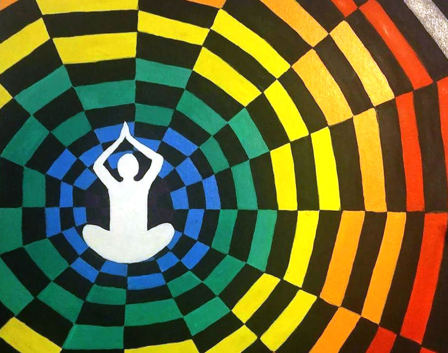 A colorful rainbow of color radiates from a white silhouette of a yogi.